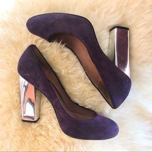 Sigerson Morrison Suede Purple Silver Pump Heels
